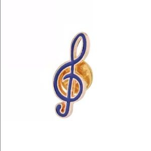 Jewelry - 4/$20 Blue Treble Clef Musical Note Enamel Pin